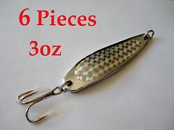 6 Pcs Casting 3oz Spoons Chrome/silver Fishing Lures -crocodile Spoon Style