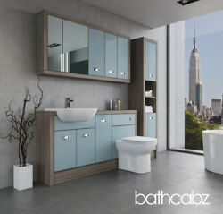 Bathroom Fitted Furniture Duck Egg Blue/driftwood A1 1500mm With Wall And Tall - B
