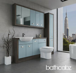 Bathroom Fitted Furniture Duck Egg Blue/mali Wenge A2 1500mm With Wall And Tall -