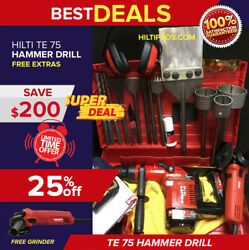 Hilti Te 75 Hammer Drill, Great Condition, Free Hilti Grinder,extras, Fast Ship