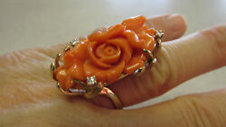Gorgeous Angel Coral And Diamond Large Rose Ring 14k Gold Size 9 Make Offer