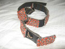 Vintage Navajo sterling silver coral cluster concho leather belt size small
