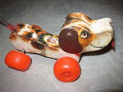 Vintage 1965 Fisher-price Little Snoopy Dog Pull Toy 693, Wood W Leather Ears