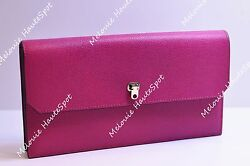 AUTH VALEXTRA FUCHSIA PINK GRAINED LEATHER FOLD FLAP CITY CLUTCH GOLD HW  NEW