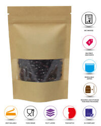 Window Kraft Paper Stand Up Pouch With Zip Lock Heat Seal Bags Doy Pack Special