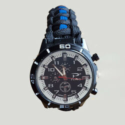 Tactical Edge Blue Line Police Paracord Watch - Choice Of Buckle