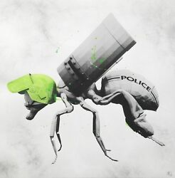 Palynology Print By Ludo Police Bee Signed Like Banksy Brainwash Obey Whatson