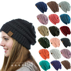 BRAND NEW COLORS CC BEANIE TWO TONE WOMEN CABLE KNIT SUPER CUTE BEANIE UNISEX $9.99