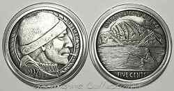 Hobo Nickel The Fisherman 1oz 999 Silver Antique Antiqued Proof Round 1K-BoxCOA
