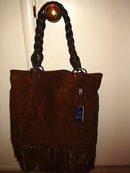 D2 Brown Suede Fringed Hobo Double Handle Shoulder Hand Bag Purse NWT Italian $329.99