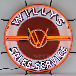 Willys Jeep Neon Sign Dads Car Garge Wall Lamp Light 4x4 Wwii Sales And Service