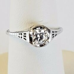 14k Solid White Gold 0.36 Ct E Color Si1 All Natural Vintage Diamond Ring Sz 6