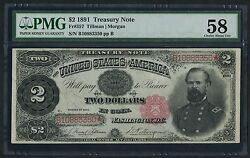 Fr357 2 1891 Mcpherson Treasury Note Pmg -- 58 Choice About Unc -- Wlm2568