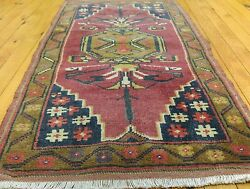 """Vintage 1950-1960s Beautiful Wool Pile Natural Dyes Cushion Cover Rug 1'9""""x3'3"""""""