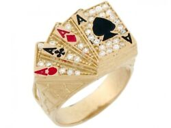 10k Or 14k Solid Gold Cz Four Of A Kind Poker Cards Enamel Lucky Mens Ring