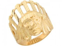 10k Or 14k Real Yellow Gold 2.1cm X 2.1cm Native American Indian Unique Ring