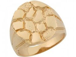 10k Or 14k Solid Yellow Gold Rounded Initial Styled Mens Nugget Ring