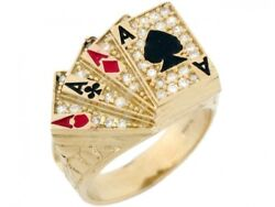 10k Or 14k Solid Gold Cz Four Of A Kind Poker Enamel Lucky Large Mens Ring