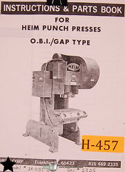 Heim 30 And 50 Ton, Punch Press Instructions Wiring And Parts Manual