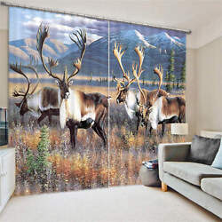 White Tail Buck Deer At Sunset 3d Blockout Photo Printing Curtains Draps Fabric