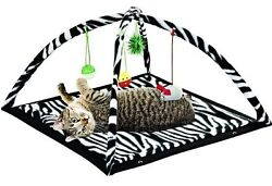 Zebra Print Cat Play Tent with Dangle Toys Pet Interactive Kitty 22quot;x23quot;x13 NEW