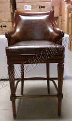Frontgate Lonsdale Leather Barstool Counter Bar Chair Wood Stagecoach 1000