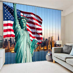 Statue Of Liberty New York Flag 3d Blockout Photo Printing Curtains Draps Fabric