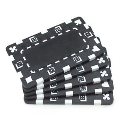 5 Ct Blank European-style Poker Plaques Rectangular Chips Suits/dice - Black