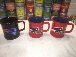 2 New England Patriots Nfl Red Embossed Mugs And A Black Mug - Excellent Cond
