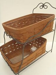 Longaberger Rich Brown Rb Tapered Paper Tray Basket Combo Wrought Iron Stand