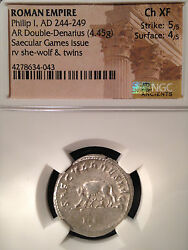 Roman Empire Philip I Ar Double-denarius Saecular Games Issue Ngc Ch Xf 5/5