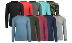 Men's Long Sleeve Waffle Thermal Shirt Tee -Crew Neck Layering Color