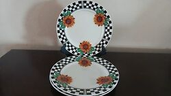 Tabletops Unlimited Sunny Dinner Plate X3 Sunflowers W/ Checked Border