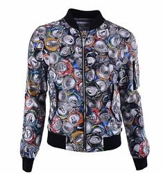 Moschino Couture Runway Nylon Jacket With Beverage Cans Print Grey Gray 04579
