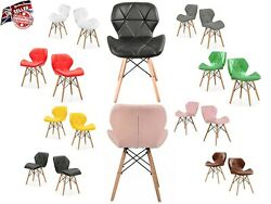 Pu Leather Seat Dining Chairs Wood Legs And Comfortable Padded Seat