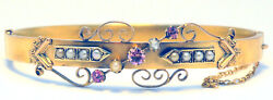 Antique 15ct Yellow Gold Hinged Bangle With Pearls And Pink Quartz - Australian