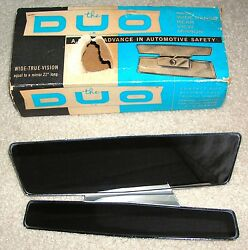 Rare Vintage - The Duo - Car Rear View Double Mirror With Original Box 1100 Usa