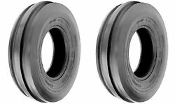 Two 7.5lx15, 7.5l-15 F-2 Triple Rib Front Farm Tractor Tires 6ply Rated