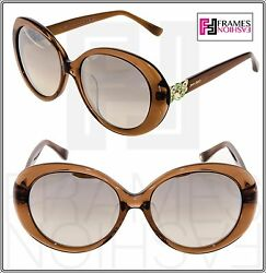 JIMMY CHOO CLEM Translucent Brown Silver Mirrored Sunglasses ASIAN FIT CLEMFS $191.97