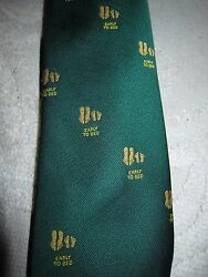 Vtg Hutzlerand039s Menand039s Shops Tie Green W Yellow Feet Early To Bed - Blanford