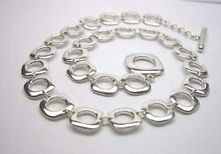 And Co. Sterling Silver Square Cushion Link Necklace In Pouch Box