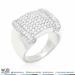 1.90ct Natural Diamond 14k Solid White Gold Menand039s Signet Ring Vvs1-vvs2