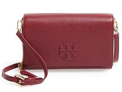 Tory Burch Thea Leather Wallet Clutch Crossbody Maroon Burgundy Purse Red