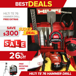 Hilti Te 76p Hammer Drill, Preowned, Free Rotating Laser, Bits, Extras