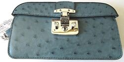$2029  New Authentic Gucci Satin Lady Lock Evening Clutch Bag Ostrich 331825