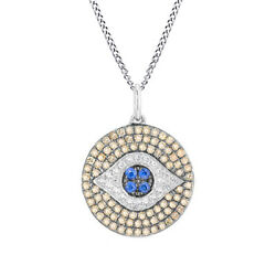 5/9 Ct Round Sapphire And Simulated Solid 14k White Gold Evil Eye Pendant Necklace