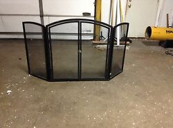 Pottery Barn Arch Hinged Doors Wood Fireplace Metal Black Screen Spark Guard