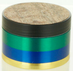 Wood Top Sticker Grinder 2 4 Piece Diamond Teeth Spice Herb Crusher Green Color