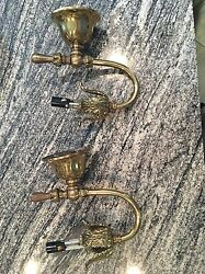Brass Antique Formerly Gas Sconces Wired For Electric