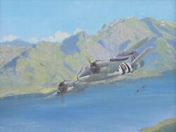 Original Ww2 Military Aviation Art Painting Beaufighter Battle For Norway Wwii